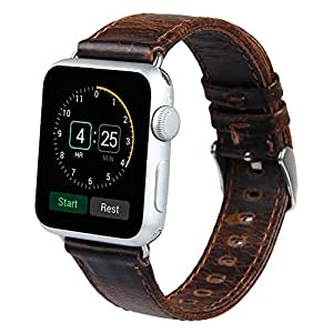 leather watch strap for Apple Watch 42mm (Dark Brown)