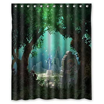 Futefew Personalized Bathroom The Legend Of Zelda Sword Forest Pattern Shower Curtain 60quot X 72quot