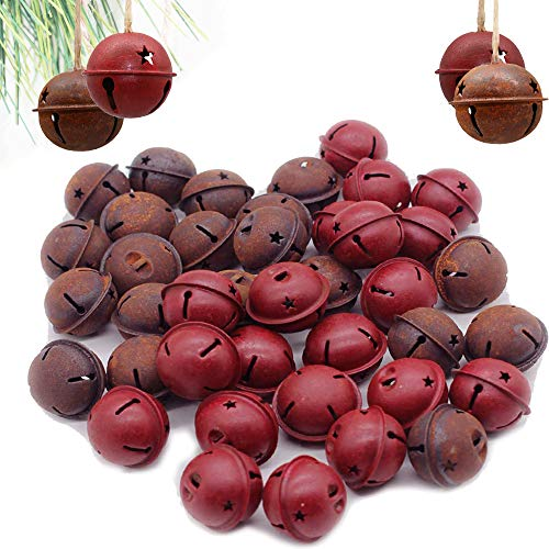 40 Pcs Christmas Rusty Jingle Bells Country Primitive Farmhouse Red Tin Bells Sleigh for Christmas Tree Ornament, Holiday or Everyday Hanging Crafting and Embellishing Two Colors (Christmas Rustic Bells)