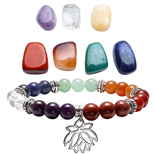 Chakra Flower - Top Plaza 7 Chakra Reiki Healing Crystals Yoga Balance Irregular Shape Polished Tumbled Palm Stones W/7 Chakra Healing Crystal Bracelet (Lotus Flower)