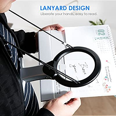 Lighted 6X/2X Magnifying Glass for Close Work,SOONHUA Reading Magnifier for Seniors and Kids, Large Optical 4.2 inch Lens with 2 LED Light & Neck Cord&Desk Stand for Cross Stitch: Office Products