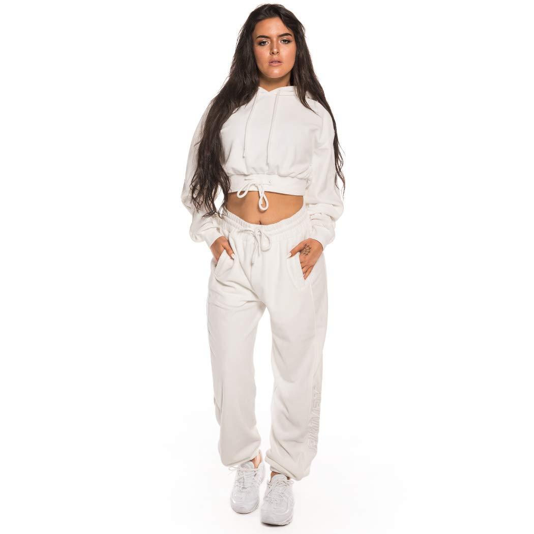 GRIMEY Sudadera Chica Hazy Sun Velour Crop Hoodie FW18 White-L ...