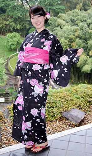 感謝コマース利用可能浴衣単品 牡丹黒地O 仕立上りの浴衣 日本の夏美人