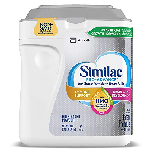Similac Pro Advance Non-GMO Powder Infant Formula with Iron with 2′-FL HMO for Immune Support 34 oz. Plus Free Bonus 1 Pack of Disposable Baby Bibs and 1 Baby Washcloth.