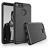 Honor 7X Case, 2018 Huawei Mate SE Sturdy Case, Tekcoo [Tmajor] Shock Absorbing [Black] Hybrid Rubber Silicone & Plastic Scratch Resistant Bumper Rugged Grip Hard Cute Cases Cover
