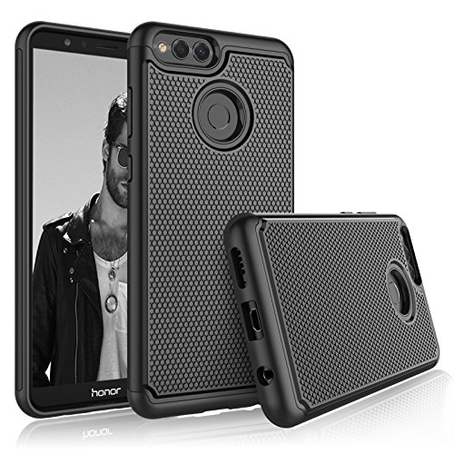 (Tekcoo For Honor 7X Case, Tekcoo 2018 Huawei Mate SE Cute Case, [Tmajor] Shock Absorbing [Black] Hybrid Rubber Silicone & Plastic Scratch Resistant Bumper Rugged Grip Hard Cute Cases Cover)