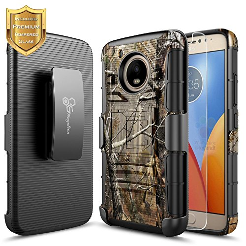 Moto E4 Plus Case with Tempered Glass Screen Protector, NageBee Belt Clip Holster Shockproof Armor Kickstand Full-Body Heavy Duty Protective Rugged Durable Case for Motorola Moto E Plus 4th Gen -Camo