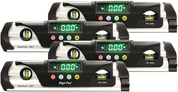 Magnet 9 inch LED Bright Display Digi-Pas DWL280PRO Waterproof IP67 Digital Torpedo Level and Protractor