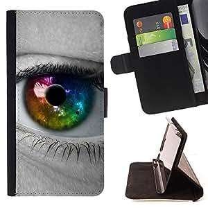 BullDog Case - FOR/Sony Xperia Z3 D6603 / - / Colorful Eye Iris /- Monedero de cuero de la PU Llevar cubierta de la caja con el ID Credit Card Slots Flip funda de cuer