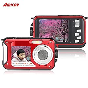 Amkov 24MP Underwater, Shockproof and Dustproof Digital Camera with Dual Full...