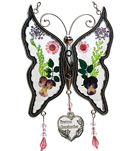 - Precious Grandmother New Butterfly Suncatchers Glass Grandmother Wind Chime with Pressed Flower Wings Embedded in Glass with Metal Trim Grandma Heart Charm Gifts for Grandma for Birthdays Christmas