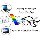 Cyxus Blue Light Filter Computer Glasses for Blocking UV Headache [Anti Eye Eyestrain] Transparent Lens, Unisex (Men/Women) (matte black)