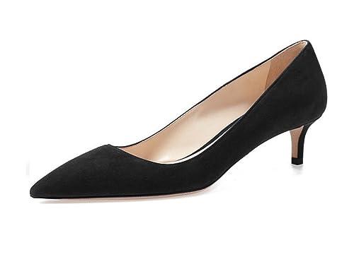 8edf6b831ce75 EDEFS Womens Pointed Toe Kitten Heel Court Shoes Mid-heel Pumps Dress Shoes  Black EU35
