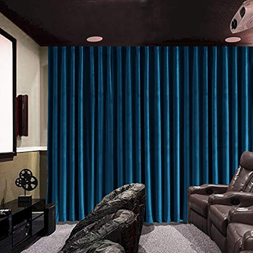 - cololeaf Velvet Blackout Lined Home Movie Theater Curtain Drapes Panel, Flat Hooks Curtain for Traverse Rod or Track 100W x 108