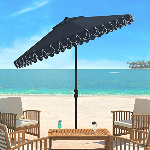 Safavieh PAT8006A Outdoor Collection Elegant Valance Auto Tilt Umbrella, 9′, Navy/White