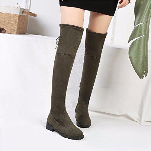 En Rff Bottes Taille Vert Lacer Femme Jambe Hauteur Daim Hiver Laçage chaussures Genou Arrire wrqUU6Y0n