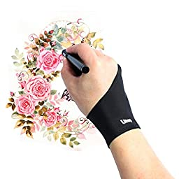 Artist Glove, Litup Free Size Anti-fouling Drawing Glove with Two Fingers for Graphics Drawing Tablet Pen Display Light Box