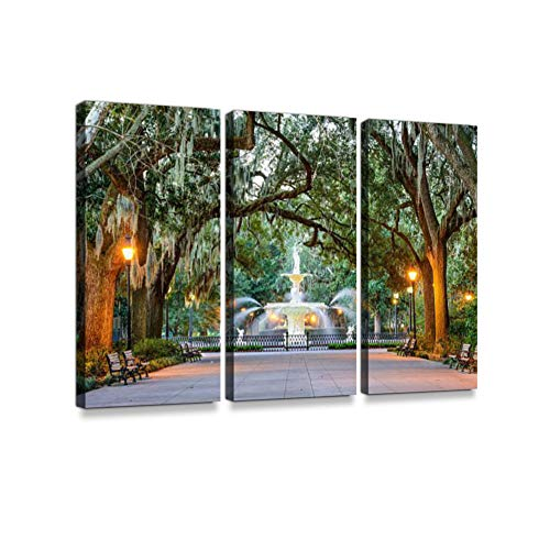 Forsyth Park in Savannah, Georgia Print On Canvas Wall Artwork Modern Photography Home Decor Unique Pattern Stretched and Framed 3 ()