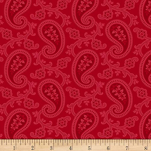 - Marcus Brothers Red & Blue And Rose Too Paisley Red, Fabric by the Yard