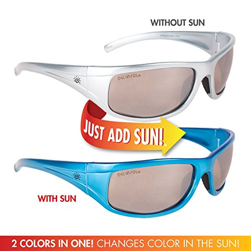 Solize Color-Changing Polarized Sunglass by Del Sol - Lifetime Protection Against Theft, Loss or Damage (Surf's Up - Silver to Blue, Del Sol Revo - Color Sunglasses To