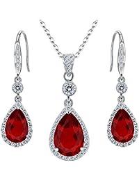 925 Sterling Silver Full Cubic Zirconia Teardrop Bridal Pendant Necklace Hook Dangle Earrings Set