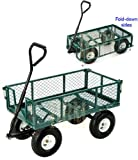 Utility Cart Wagon Hauling Towing Folding Sides Farm Handle Steering Cart-GREEN