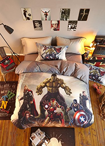 Haru Homie Luxurious 100% Cotton Duvet Cover 3D Avengers Kids Reversible Bedding Set With Zipper Closure - Comfortable, Fade Resistant and Extremely Durable, Full/Queen by Haru Homie