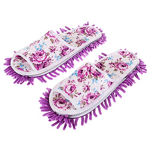 Zhenxinmei 1 Pair Rose Detachable Wiping Slipper Unisex Multifunctional Washable Cotton & Chenille Fiber House Floor Cleaning Dust Mop Slippers Lazy Mop Shoes Anti Slip Powerful Absorbent (purple) - Kenneth Bedroom Collection