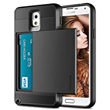 Galaxy Note 3 Case, Vofolen Galaxy Note 3 Wallet Cover Carrying Case Armor Slim Fit Protective Shell Hard PC Case + Soft TPU Bumper Cover with Card Holder Slot for Samsung Galaxy Note 3 (Black)