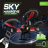 SKY Hawkeye HM1315S 1315S CF Headless mode One PressAutomatic Return 4CH 5.8G FPV RC Quadcopter with 0.3MP Camera Real-time Transmission (Mode 2) Black & Red
