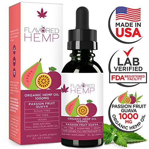Hemp Oil - Zero THC CBD Oil Cannabidiol - 1000 MG - Passion Fruit - 100% Organic Hemp Extract Drops - Natural Pain Stress Anxiety Relief & Improves Overall Health - Grown & Made in The USA…