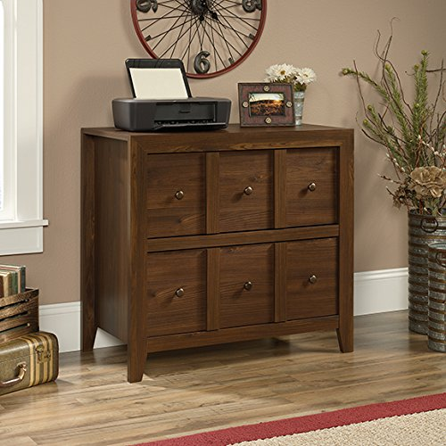 Sauder Dakota Pass 2 Drawer File Cabinet TV Stand in Rum Walnut