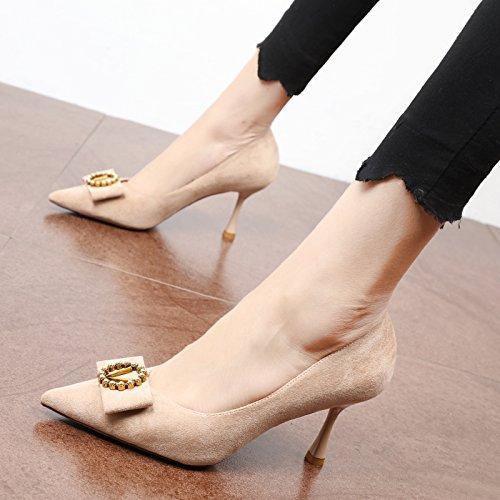 FLYRCX La primavera y el otoño moda hebilla de metal head suede parte de tacón zapato único A