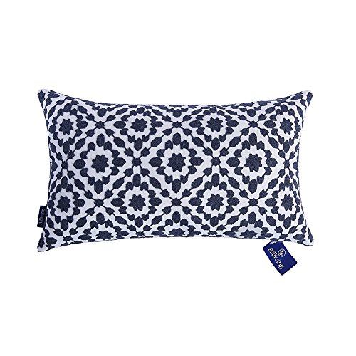 Aitliving Decorative Throw Pillow Cover Cotton Canvas Muted Slate Blue Trellis Embroidery Dark Blue Mina Lumbar Pillow Case Cushion Cover, 1 pc 12x20 inch, Navy Blue Lumbar Pillow Cover (Nz Furniture Covers Outdoor)