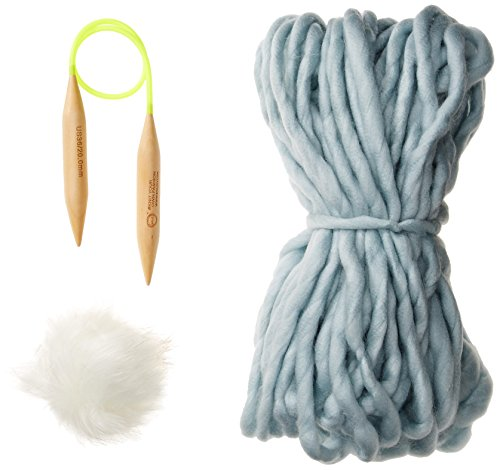 D&Y Women's Diy Kit For Chunky Beanie with Faux Fur Pom