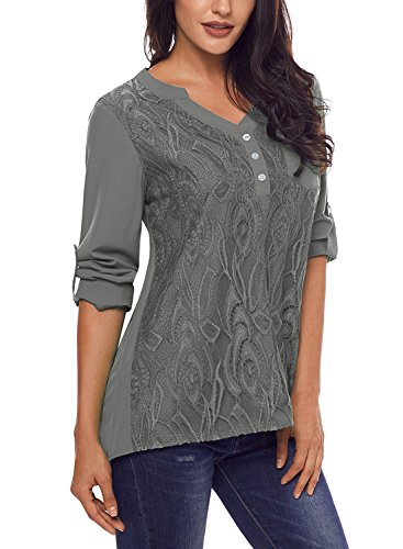 Chiffon Floral (ZKESS Women Lace Tops Casual V-Neck Button Cuffed Sleeve Pocket Floral Lace Chiffon Blouse Tops Grey Large Size)