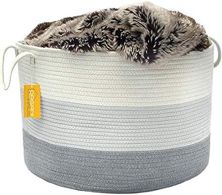 Amazon Com Organihaus Xxl Cotton Rope Basket Wide 20 X 13 3