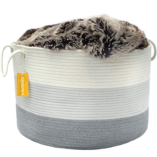 Chest Tv White (OrganiHaus XXL Cotton Rope Basket | Wide 20
