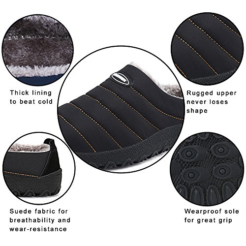 SITAILE Women Men Outdoor Indoor Slippers Fur Lined Waterproof Slip On House Winter Slipper Shoes Ankle Snow Boots Black,44 by SITAILE (Image #2)
