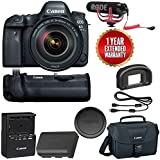 Canon EOS 6D Mark II Wi-Fi Digital SLR Camera with 24-105mm f/4L II Lens + BG-E21 Battery Grip + Rode VMGO + Canon 100ES Bag + Warranty