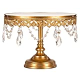 Amalfi Decor 10 Inch Mirror-top Cake Stand, Glass Crystal Draped Round Metal Display Pedestal for Wedding Events Birthday Party Dessert Cupcake Antique Plate, Anastasia Collection (Gold)