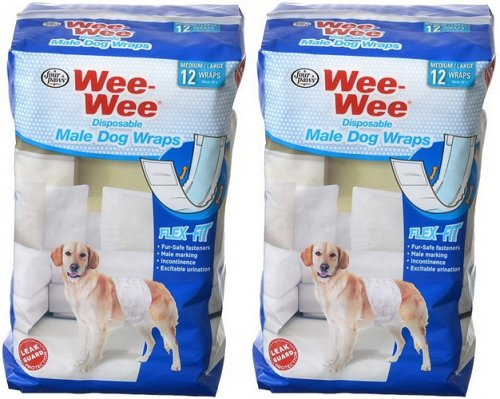 Four Paws Wee-Wee Products Disposable Male Dog Wraps (24 Pack)