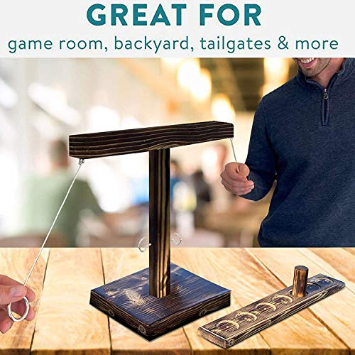 Handmade Wooden Hook and Loop, Interactive Drink Game, Outdoor and Indoor Handmade Wooden Ring toss Hook, Fast-paced Interactive Game, Used for Bars, Parties, Drinking Games and Toys (A)