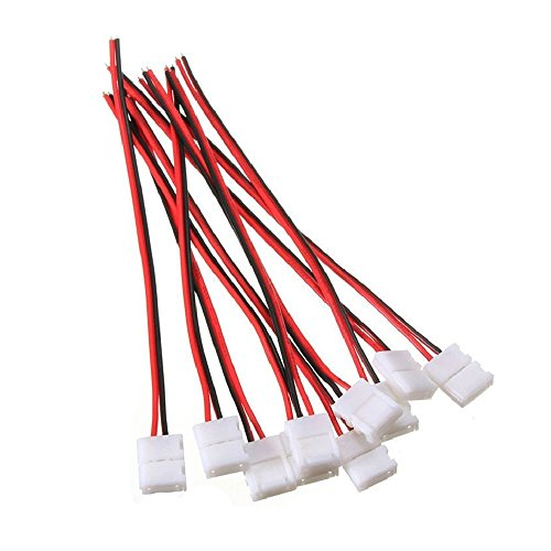 LightingWill 10pcs Pack Strip Wire Solderless Snap Down 2Pin Conductor LED Strip Connector for 8mm Wide 3528 2835 Single Color Flex LED Strips