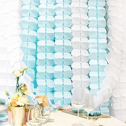 6 Pieces 11.8 Feet 4-Leaf Hanging Clover Garland Tissue Paper Flowers Garland Reusable Party Streamers for Party Decorations Wedding Decorations (Light Blue) ()