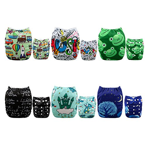 Alva Baby New Positioning and Printed Design Reuseable Washable Pocket Cloth Diaper 6 Nappies + 12 Inserts 6DM32