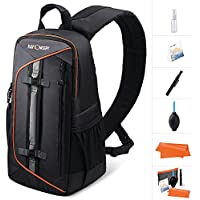 K&F Concept Professional Camera Sling Backpack with Rain Cover and Padded Crossbody Strap for Canon Nikon Sony DSLR & Mirrorless, Lens & Accessories Camera Bag - Black
