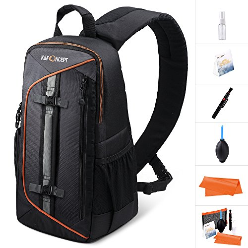 K&F Concept Professional Camera Sling Backpack with Rain Cover and Padded Crossbody Strap for Canon Nikon Sony DSLR & Mirrorless, Lens & Accessories Camera Bag - Black by K&F Concept