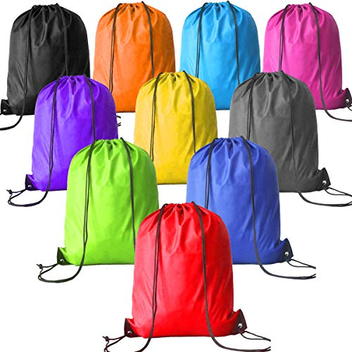 2c1e7898288f 10 Pack Drawstring Bags Cinch Sack Pack for Kids Party Favors Bags Gym Drawstring  Backpack Bulk