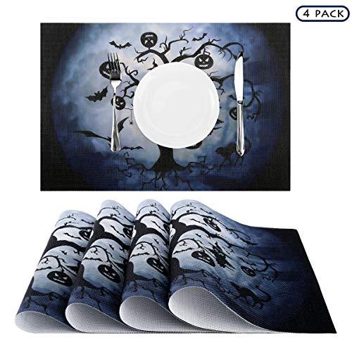 (Nuovoware Halloween Placemats, [4 PACK] 30 x 45 cm Premium Exquisite Crossweave Stain Resistant Heat-resistant Non-slip Textilene Woven Plaid Dining Mat Pads Place Mats, Tree & Moon)